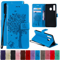 For Samsung A8s A20 A50 A70 Tree&Cat Leather Flip Wallet Card Stand Case Cover
