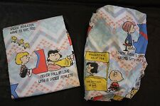 Peanuts Snoopy Video Game Arcade Sheet Set Full Vtg Flat Fitted Craft Fabric