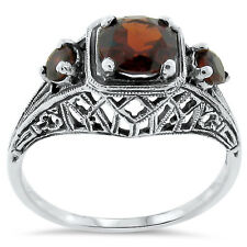 GENUINE GARNET ANTIQUE DECO STYLE .925 STERLING SILVER RING SIZE 8,         #160