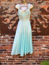 Vintage OLGA Peignoir GOWN 91240 Sweep Sheer Lace Honeymoon Baby Blue S