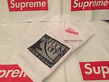 Supreme F ** K OFF TEE grandi L BOX Logo Bianco SS16 T-SHIRT 2016