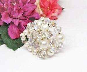 Nice Silvertone Faux Pearl & Aurora Borealis Crystal Beads Memory Wire Bracelet!