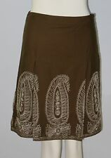 ANN TAYLOR Petites Size 00P Brown Embroidered Fully-Lined A-Line Skirt