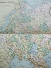 ANTIQUE PRINT DATED C1870S MAP OF RUSSIA IN EUROPE COLOUR MAP OF THE WORLD GLOBE
