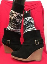 Used Winter Wedge Platform Boots By Muk Luks S 8 Black white snowflakes