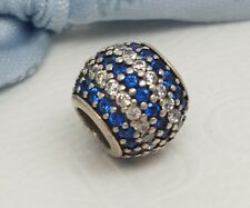 Authentic Pandora Silver Blue Striped Pave Cubic Zirconia Charm 791172NCB