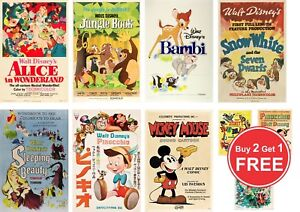 Disney Vintage Retro Film's Posters Print in A0-A1-A2-A3-A4-A5-A6-MAXI C151