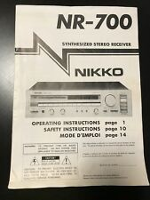 Original Factory Nikko Nr-700 Synthesized Stereo Receiver Operating Instructions
