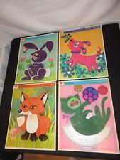 Four Whitman Pre-school Frame Tray Puzzle s FUZZY Little Fox,bunny, cat, dog