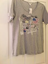 CHRISTOPHER & BANKS GRAY PATRIOTIC TEE WITH BLING SIZE S NWT