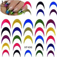 Styles 3d Holographic Glitter Nail Art French Manicure Transfer Stickers UK