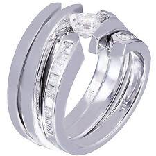14K WHITE GOLD PRINCESS FOREVER ONE MOISSANITE DIAMOND ENGAGEMENT RING BAND 1.50