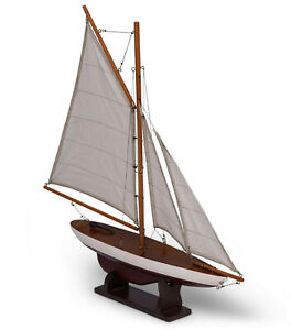 """Small Pond Yacht Sailboat Model 20"""" Wooden Nautical Boat Table Top Decor New"""