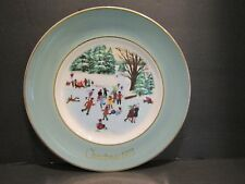 Avon~1976~Skaters On The Pond~Christmas Plate Series~4th Edition~Enoch Wedgewood