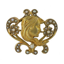 Art Nouveau 14K Gold Cultured Seed Pearl Watch Pin Brooch