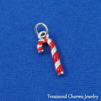 Silver and Red Striped Christmas CANDY CANE CHARM PENDANT *NEW*