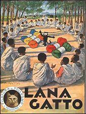 PUBBLICITA' LANA GATTO FILATURA TOLLEGNO COLONIE AFRICA GOMITOLO MUGGIANI 1936