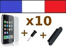 10 LOTS NOIR anti-poussière + 10 FILMS DE PROTECTION ECRAN iphone caches 3G 3Gs