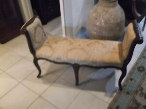 Maitland Smith French Gold Upholstered Carved Rolled Arm Bench