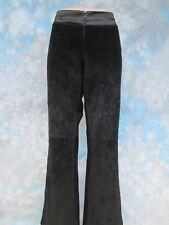 Caché Sz 6 Black Suede Satin Trim Flat Front Women's Pants