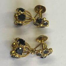 Vintage Pair 22ct Gold Hallmarked 916 Black Sapphire Drop Earrings Unusual 4.3g