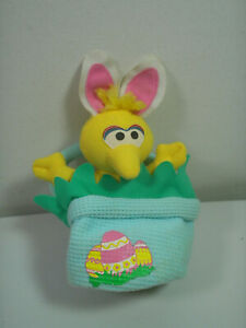 Fisher Price Sesame Street Big Bird Plush Easter Basket Bunny Puppet 2000 VGUC