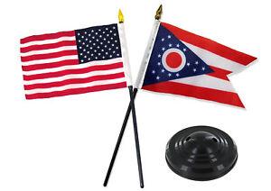 "Ohio State w/ USA America American Flag 4""x6"" Desk Set Table Stick Black Base"