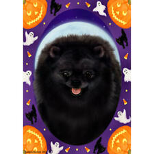 Pomeranian Black Halloween Howls Flag