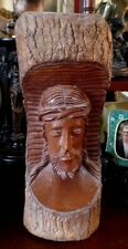 Large Wooden Carved Bust of Jesus 12 inches Tall Christian Devotional