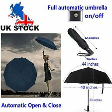 Black Strong Windproof Umbrella Automatic Open/Close Folding Double Canopy Black