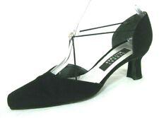 Stuart Weitzman Shoes Sz 7 Black Fabric D'Orsay Pump Mary Jane Rhinestone Dressy