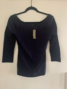 j crew navy womens small NWT cotton blend top