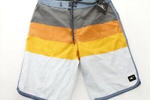 New O'Neill Mens Four Square Gray Colorblock Board Short Swim Trunks 44 Blue MA1