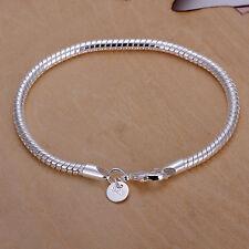 Damenarmband Schlangenkette 4mm 20cm Armband Schmuck pl. mit Sterlingsilber T::A