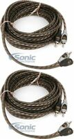 2 Rockford Fosgate RFI-16 16.4Ft Twisted 2 Ch RCA Car Audio Signal Cable Package