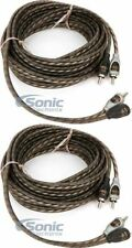 2) Rockford Fosgate RFI-16 16.4Ft Twisted 2 Channel RCA Car Audio Signal Cable