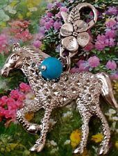 "Tibetan Turquoise Clip On Lotus Silver Spirit Horse rlung rta Pendant 3"" Amulet"