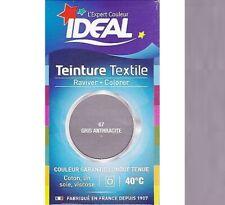 TEINTURE avec FIXATEUR TEXTILE TISSU GRIS ANTHRACITE IDEAL vetement coton soie