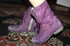 STEVE MADDEN TROOPA PURPLE LEATHER ANKLE BOOT SIZE 6.5