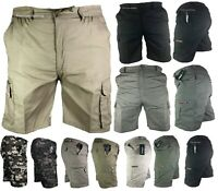 Mens Mian Elasticated Waist Cargo Combat Plain Shorts Pants Bottom Half Pant Zip
