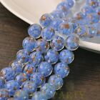New 5pcs 12mm Lampwork Glass Dots Loose Spacer Round Beads Charms Deep Blue