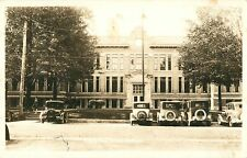 20's Autos Parked In Front Of The High School, Greenville MI RPPC