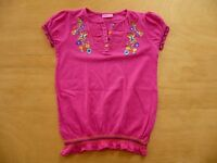 t-shirt brodé LC WAIKIKI taille 7 - 8  Ans haut style blouse rose fuchsia fille