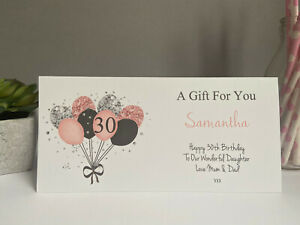 Personalised Birthday Wallet Gift Card Ladies Gift Voucher 16th 18th 21st 30th