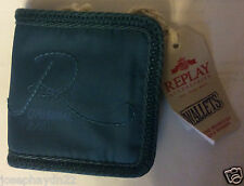 NEW  REPLAY blue  small WALLET  PURSE  vecro fastening
