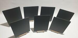 A4X7 TABLE TOP BLACKBOARDS PLUS 7 WOODEN EASELS + 8 COLOUR LIQUID CHALK PENS