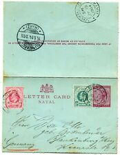 South Africa uprated Letter Card Natal to Blankenburg Germany 19-7-1904