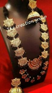 Indian Ethnic decorative Oxidized Chirms Necklace Earrings Jhumka