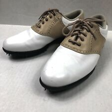 FootJoy Womens 98603 White/Tan Leather Lace Up Golf Shoe, 9 M Soft Cleats