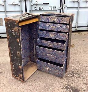 Antique steamer trunk by Finnegans of London – travel wardrobe – beautiful